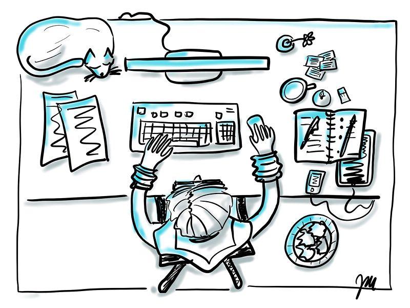 Illustration des Alltags einer PR Werbe Texterin am Schreibtisch Recherche Schreiben